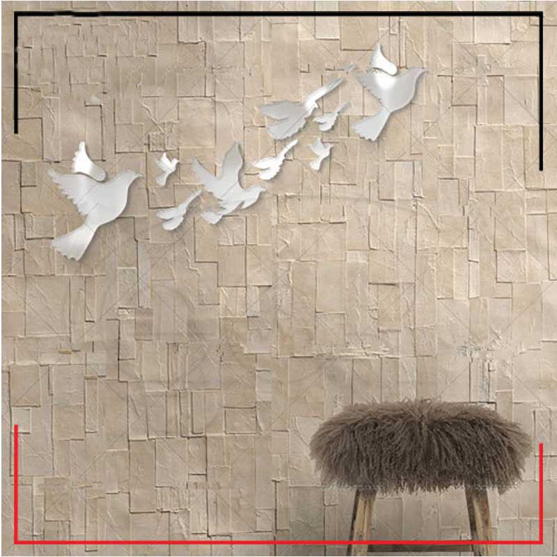 اینه دکوراتیو دیواری فانتزی طرح پرواز پرنده ها